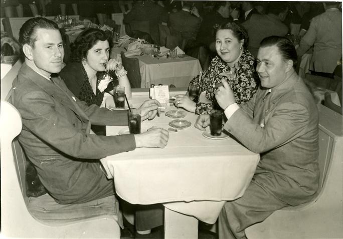 George and Aurelia Salisbury having dinner